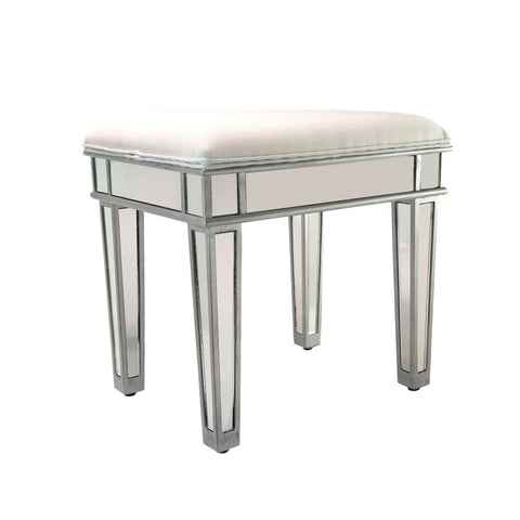 Impressions Vanity Ella Luxe Mirrored Vanity Ottoman Stool in Silver