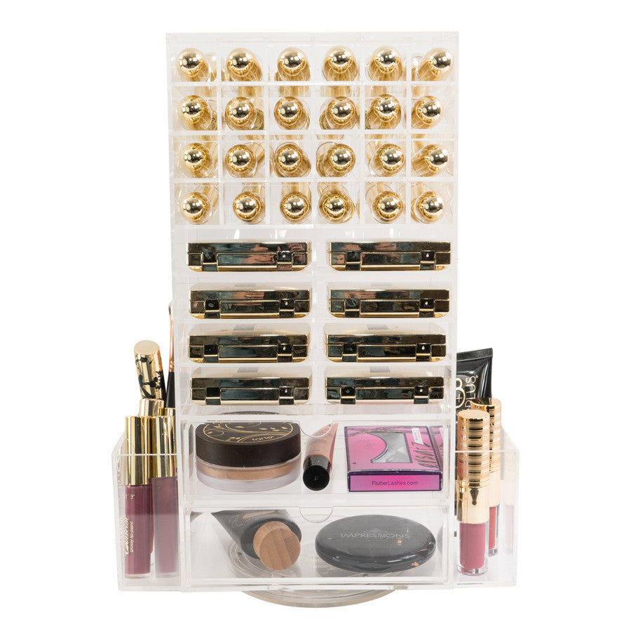 Rotating Acrylic Makeup Tower Two Drawers