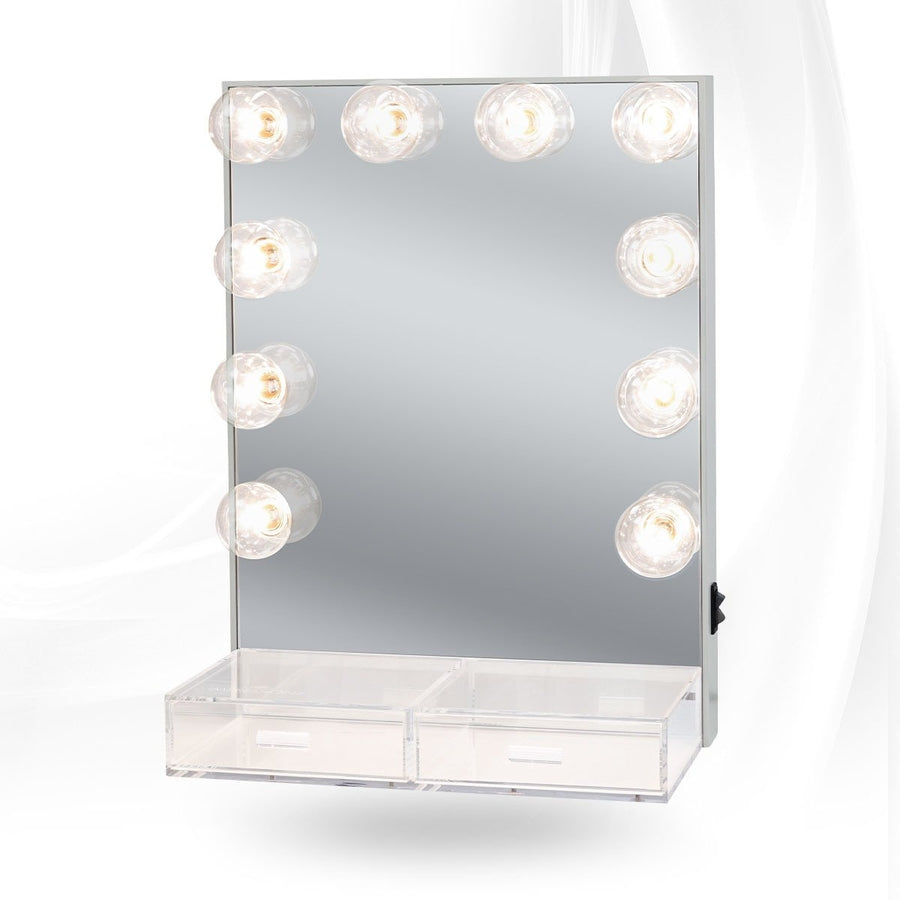 Lighted Vanity Mirror.Hollywood Crystal Vanity Mirror With Acrylic Drawers