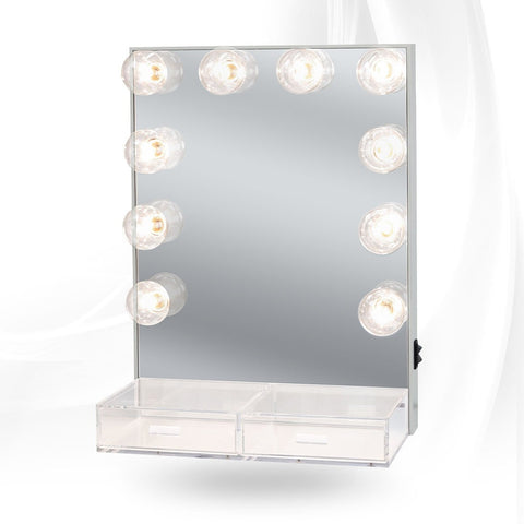 Impressions Vanity Hollywood Crystal Lighted Vanity Mirror with Acrylic Drawers Silver Lit