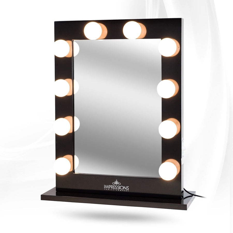 Impressions Vanity Hollywood Studio XL Lighted Vanity Mirror Black Lit . - Lighted Mirror Vanity Roselawnlutheran
