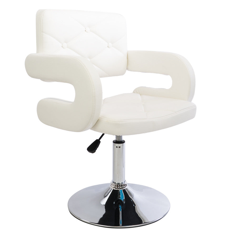White Plush Diamond Quilted Chair