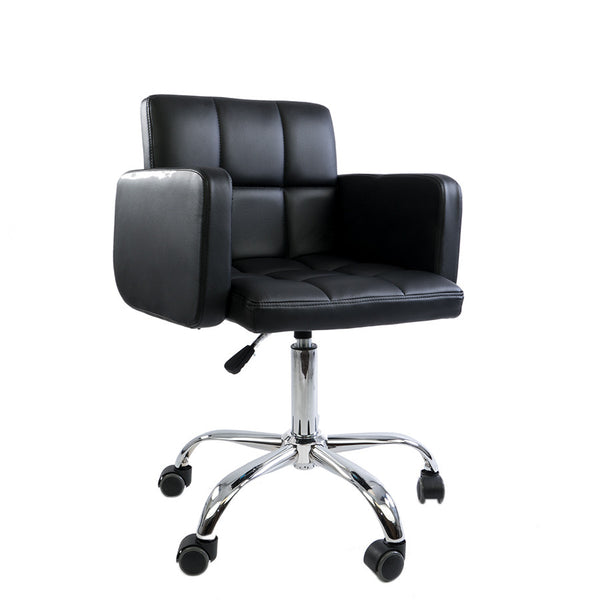 Black Square Quilted Leather Desk Chair