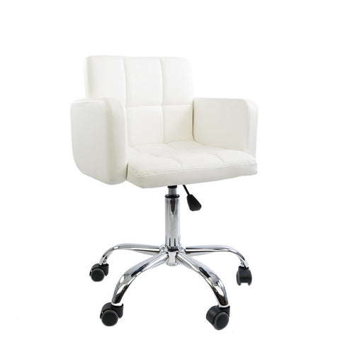 Genial White Square Quilted Leather Desk Chair