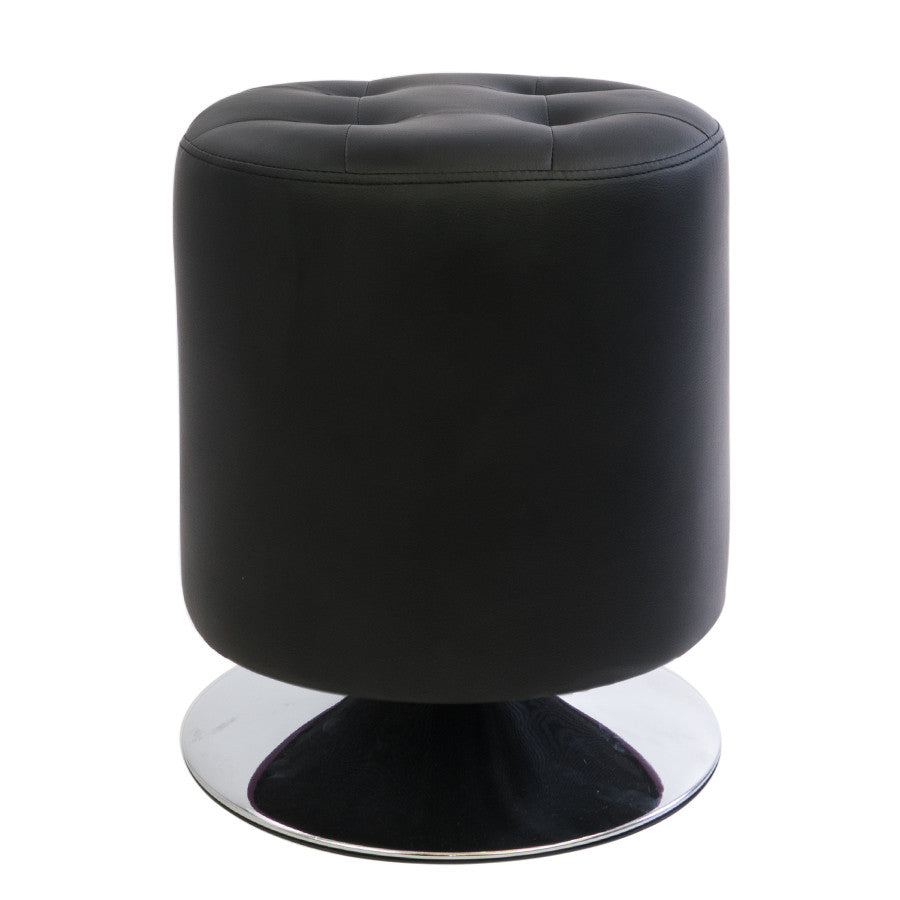 Black Quilted Leather Round Ottoman