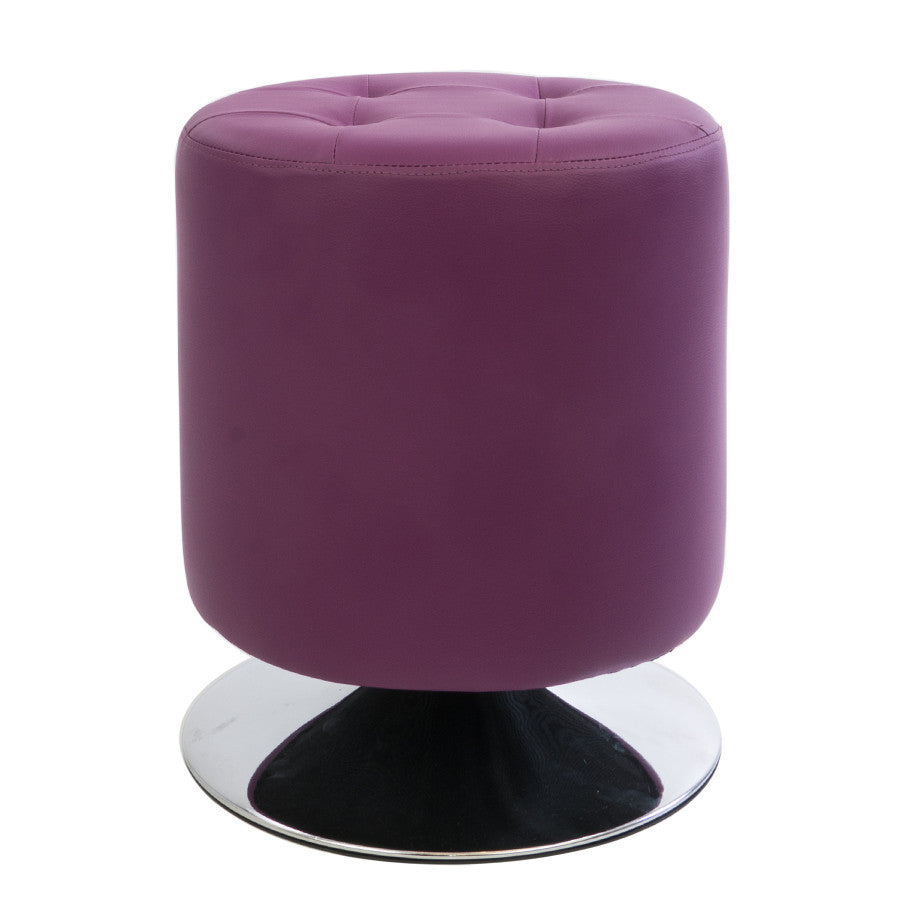 Purple Quilted Leather Round Ottoman