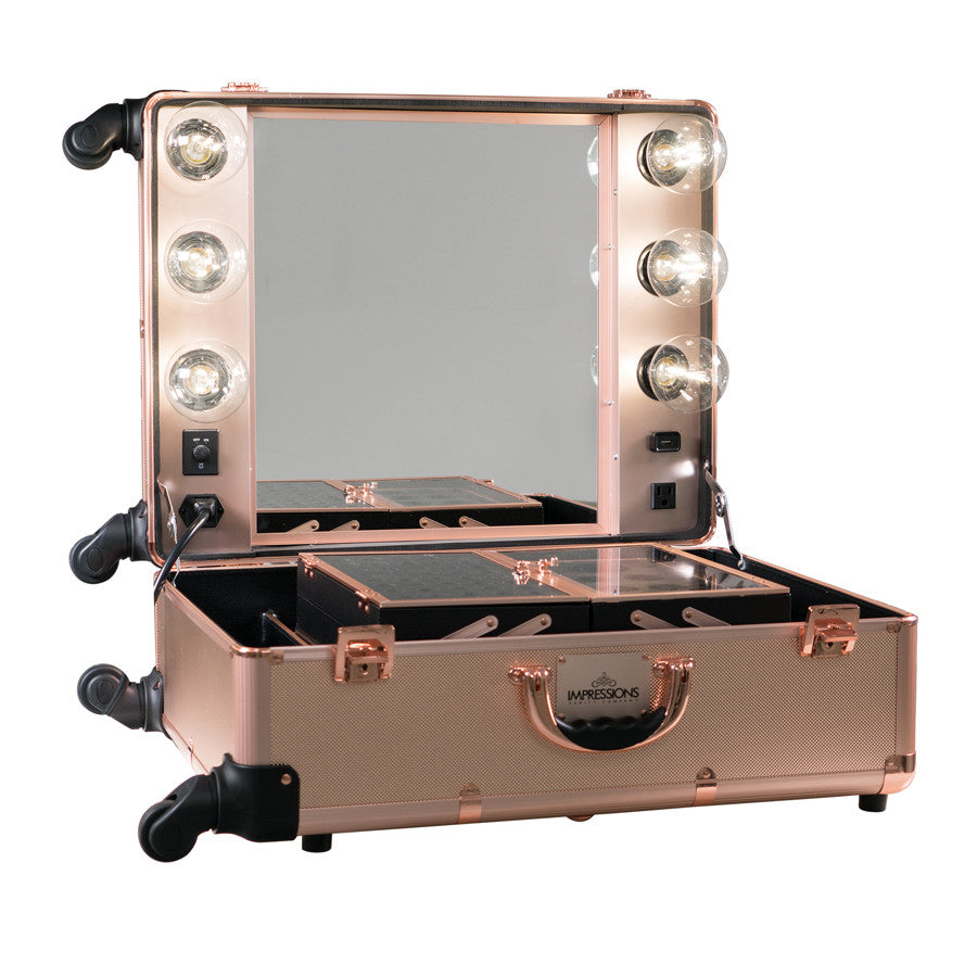 Slaycase Pro Vanity Travel Train Case In Rose Gold Bling