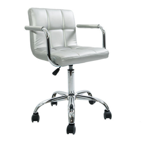Silver Square Quilted Leather Desk Chair