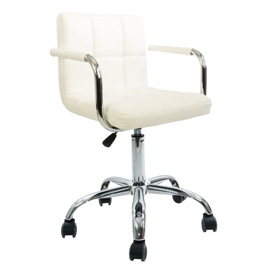 White Square Quilted Leather Desk Chair