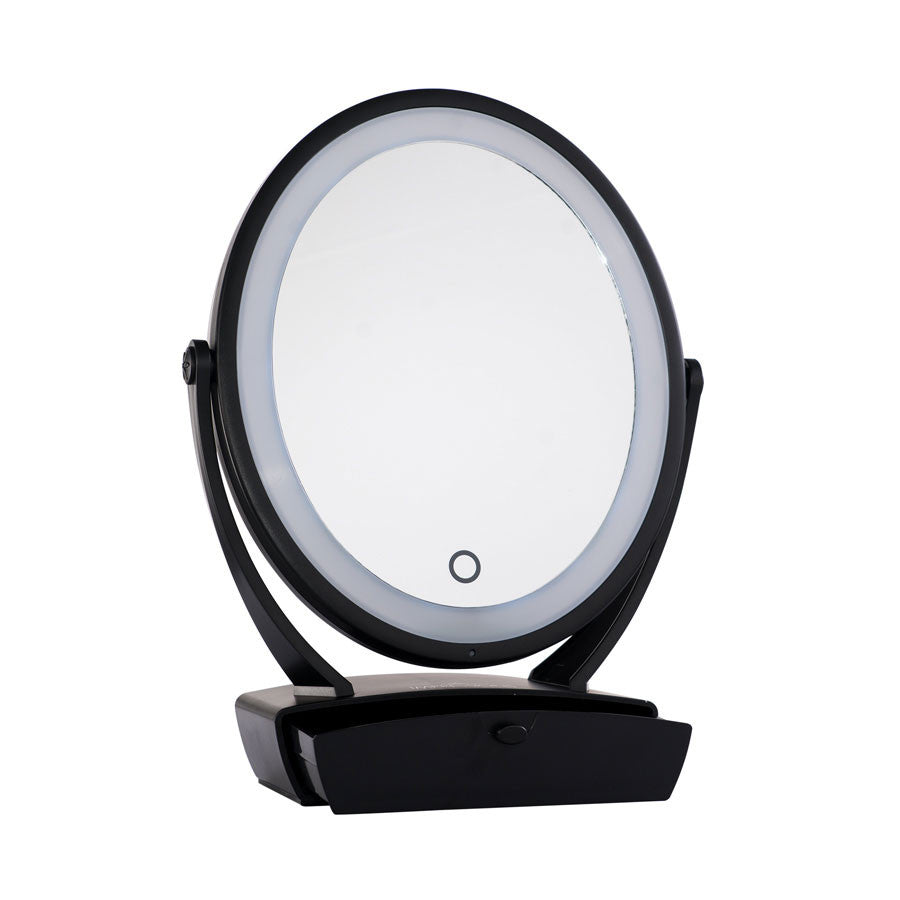 Impressions Vanity Touch Chill 1X/5X Dual Mirror with Ambient LED Halo in Black
