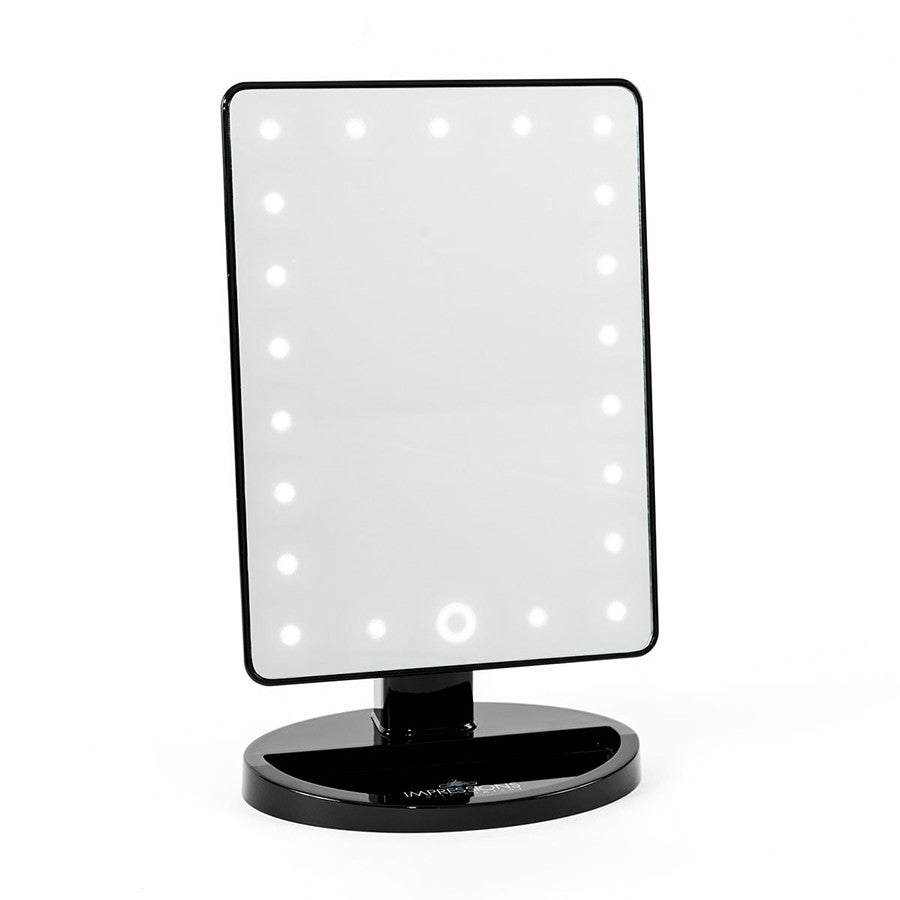 Impressions Vanity Touch Dimmable LED Makeup Mirror Glossy Black Co  2 0 in