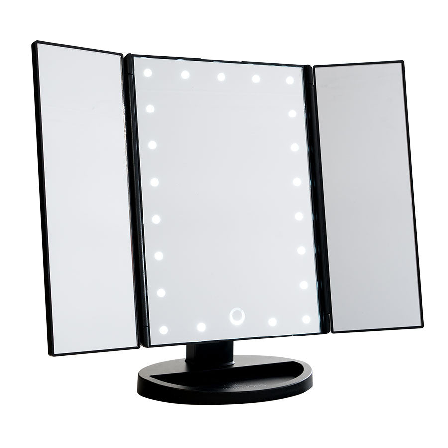 mirror makeup. touch trifold dimmable led makeup mirror