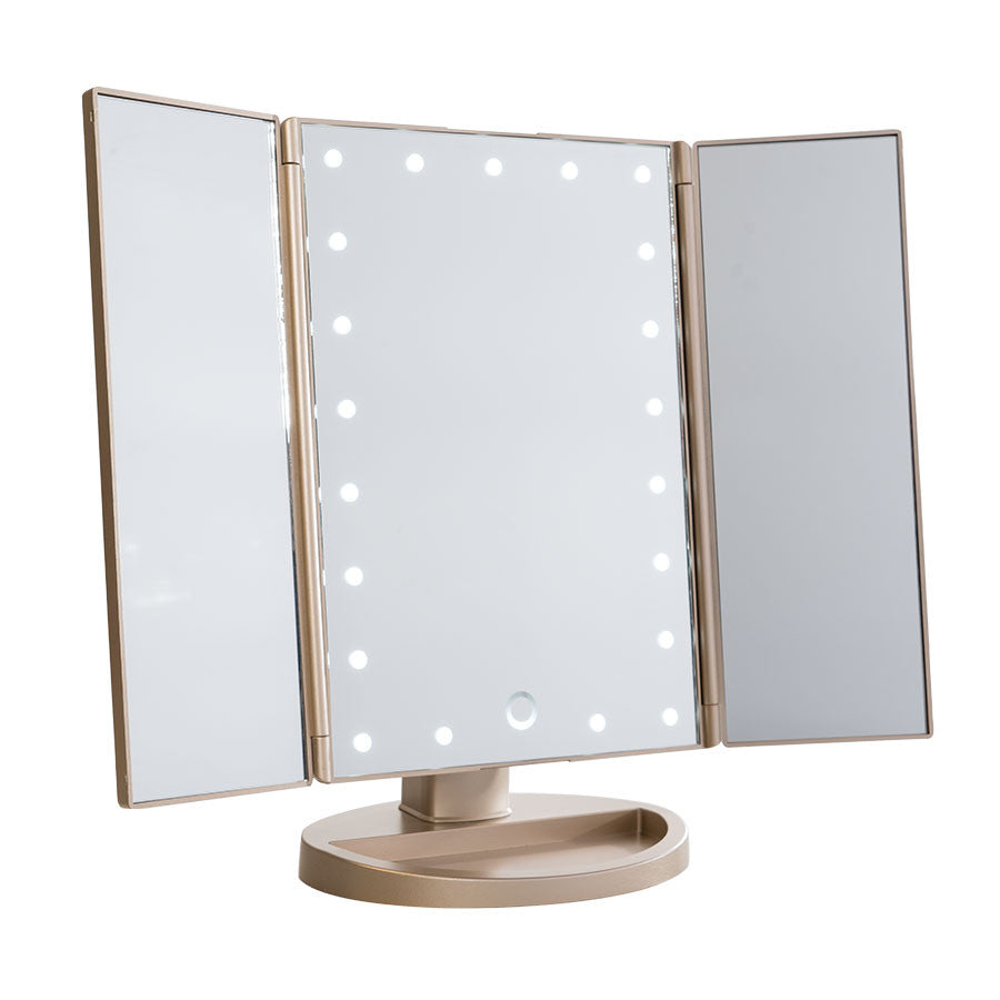 Touch trifold dimmable led makeup mirror impressions vanity co impressions vanity touch led trifold makeup mirror in champagne gold aloadofball Choice Image