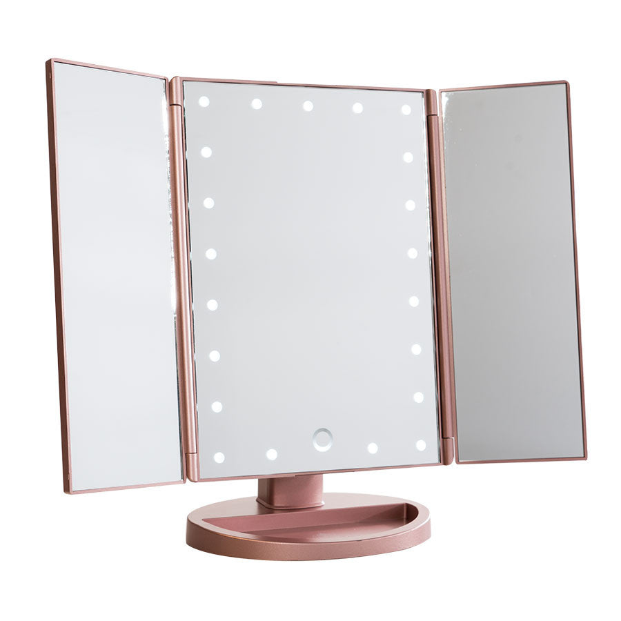 Impressions vanity touch trifold dimmable led makeup mirror for Gold stand up mirror