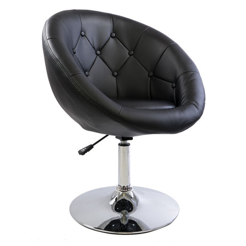 Black Tufted Round Swivel Chair