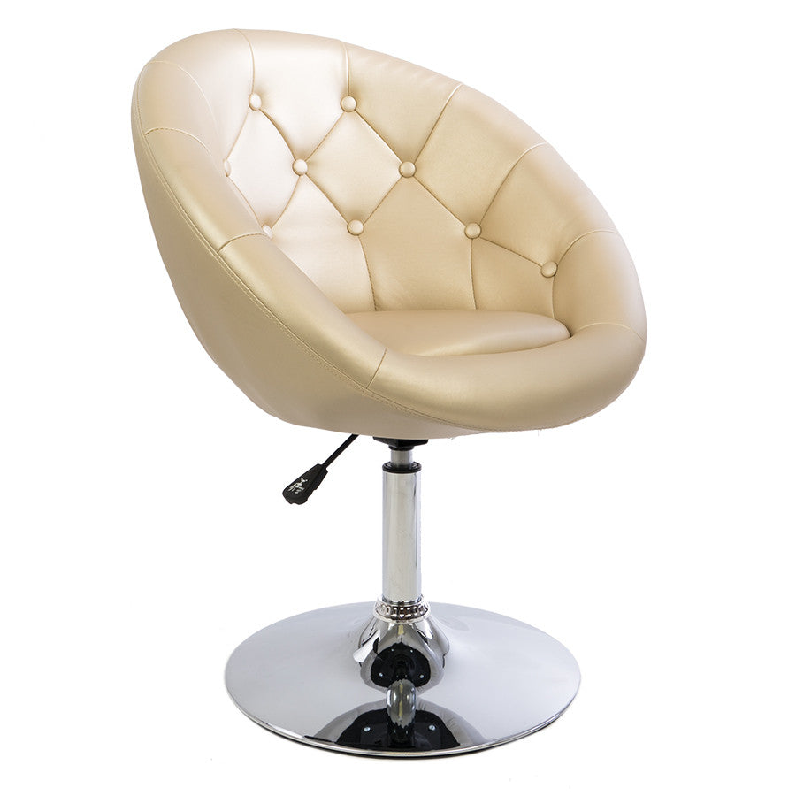 Champagne Gold Tufted Round Swivel Chair