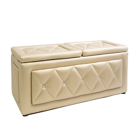 Champagne Gold Wide Diamond Studded Leather Bench