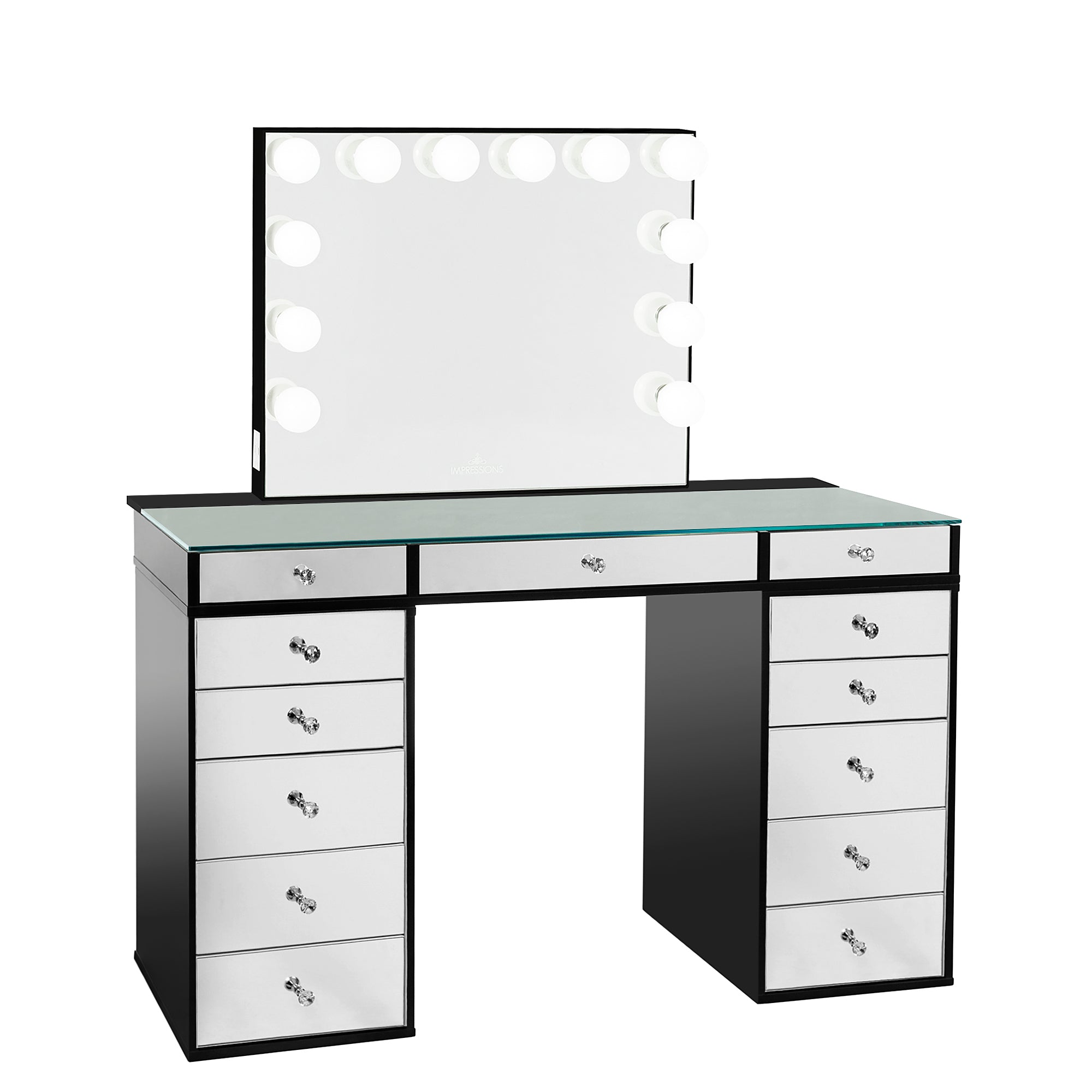 Slaystation Plus 2 0 Mirrored Tabletop Vanity Mirror 5 Drawer Units Bundle Impressions Vanity Co