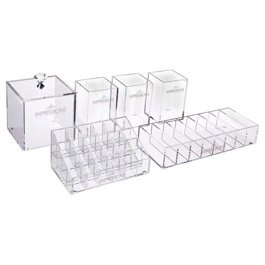 diamond collection 6-piece acrylic makeup organizer set