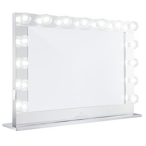 Impressions Vanity Hollywood Reflection PRO Mirrored Vanity Mirror with dimmable clear Edison LED G25 globe bulbs.