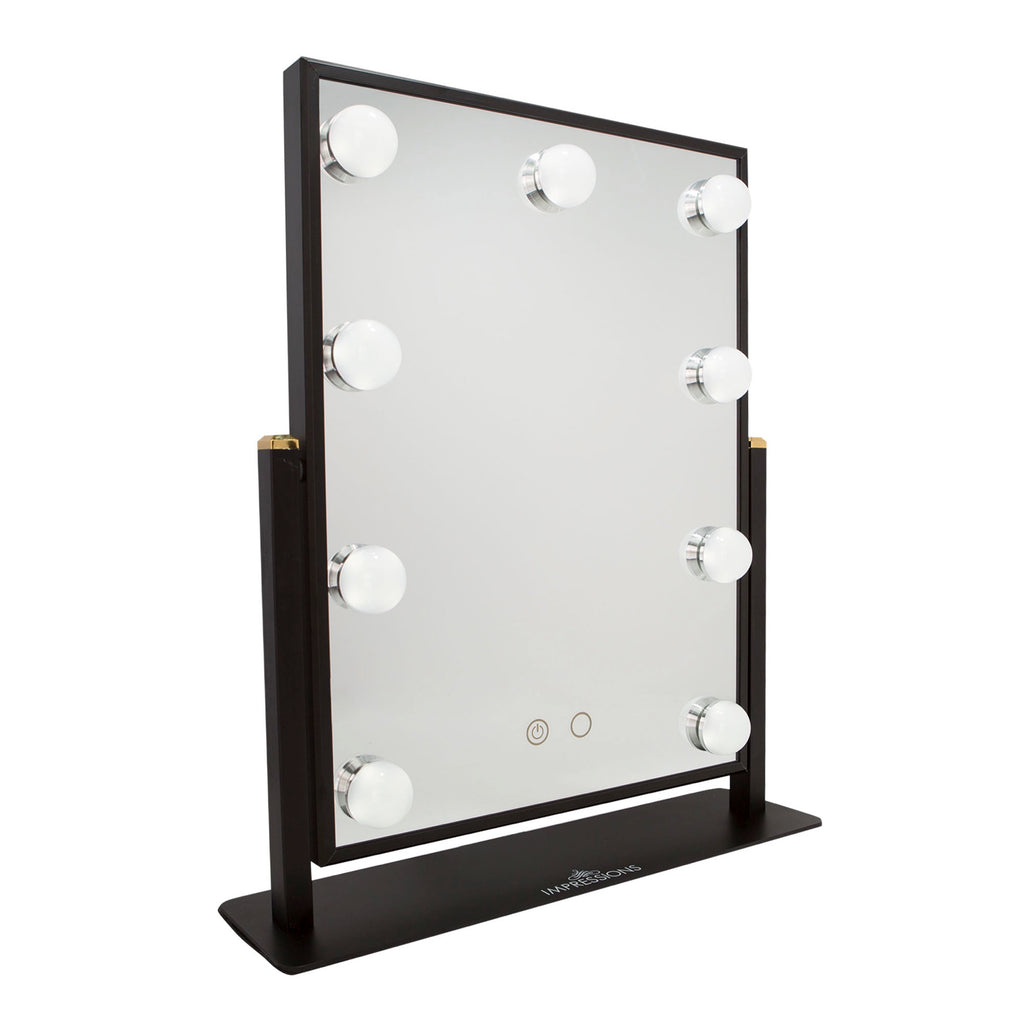black vanity mirror with lights. impressions vanity hollywood touch duo-tone led makeup mirror in black with lights o