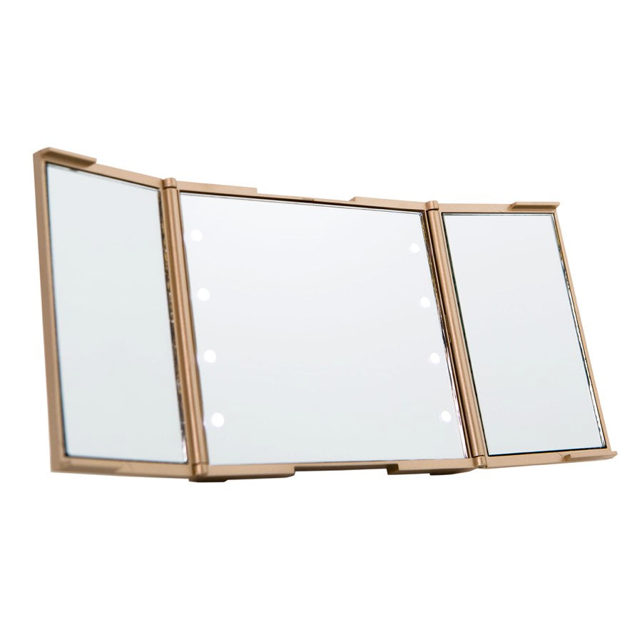 Impressions Vanity ReveaLight Trifold LED Compact Mirror in Champagne Gold Lighted
