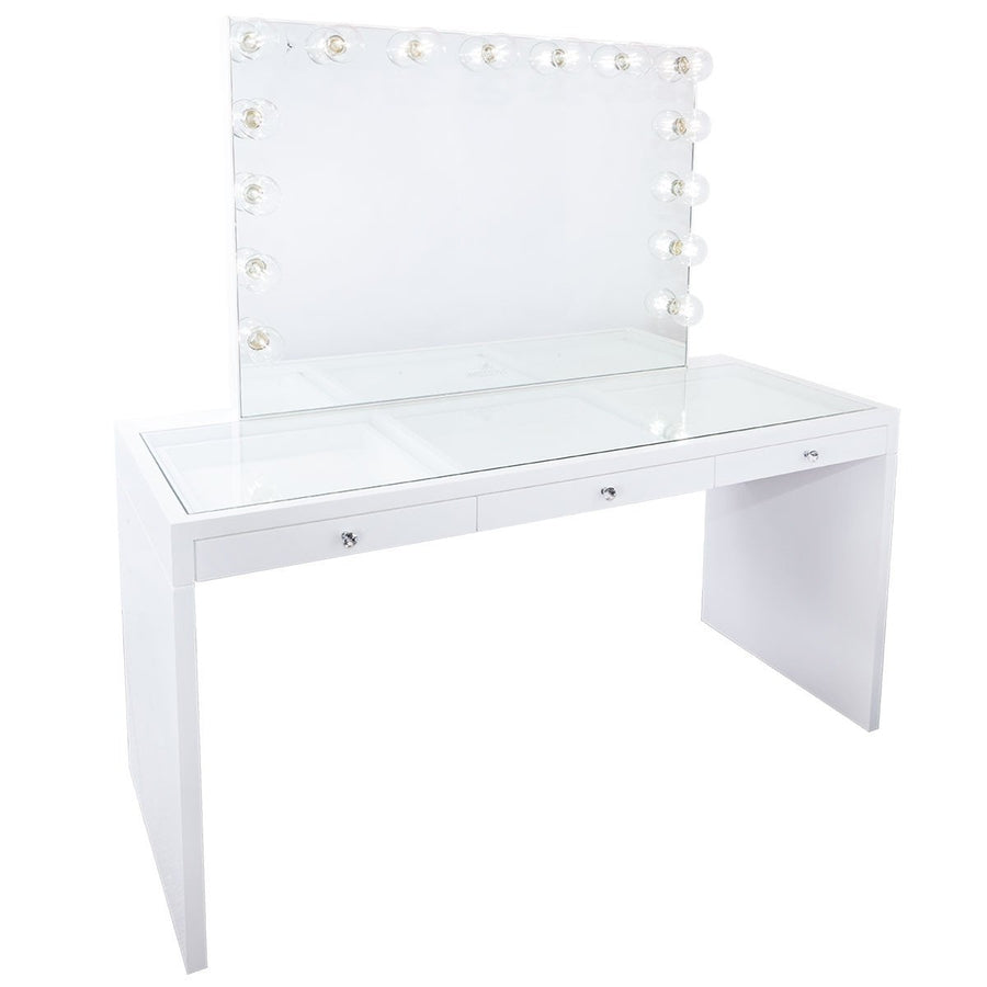 Marvelous Impressions Vanity SlayStation Hollywood Glow Pro Vanity Mirror U0026 Table  Bundle In Glossy White With USB