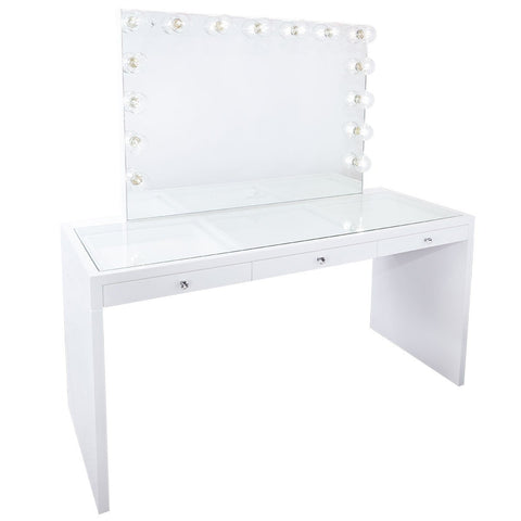 Impressions Vanity SlayStation Hollywood Glow Pro Vanity Mirror & Table Bundle in Glossy White with USB Outlets