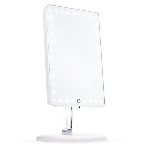 Impressions Vanity Touch Pro LED Makeup Mirror with Bluetooth Wireless Audio + Speakerphone & USB Charger in Glossy White