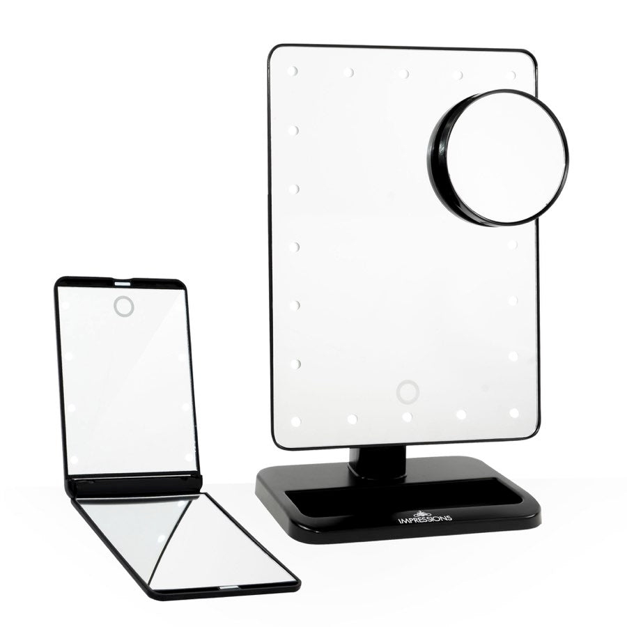 Impressions Vanity Touch: The Set LED Makeup Mirror Bundle in Black