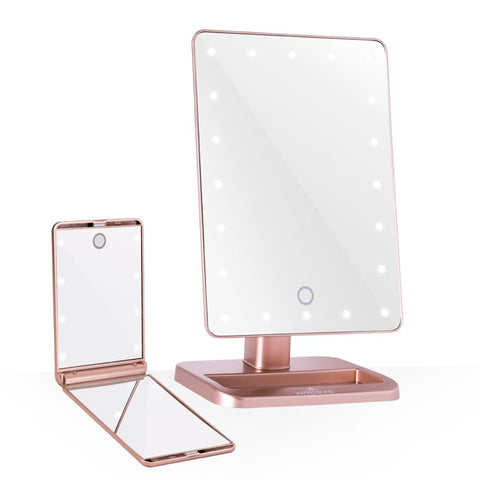 Impressions vanity touch the set led makeup mirror bundle in rose gold