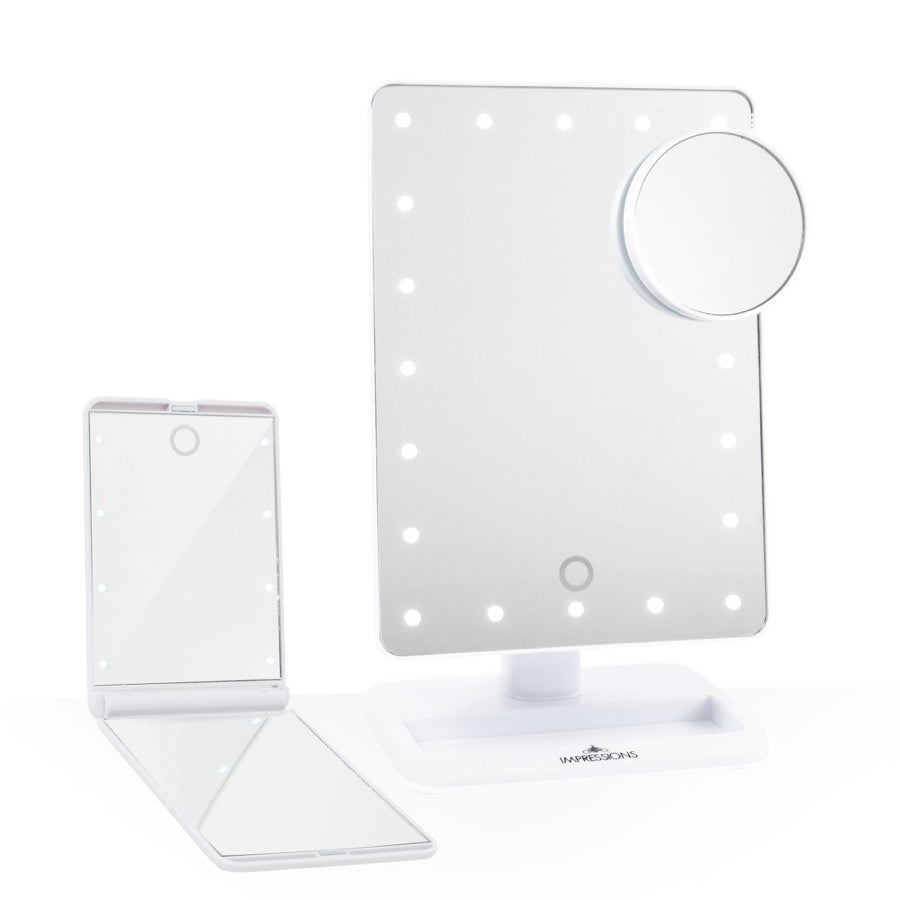 Impressions Vanity Touch: The Set LED Makeup Mirror Bundle in White