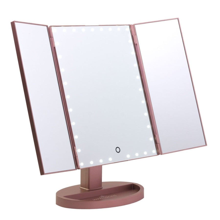 Touch Trifold Xl Dimmable Led Makeup Mirror Impressions