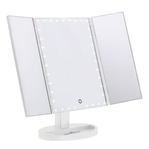 Impressions Vanity Touch Trifold XL Dimmable LED Makeup Mirror in White