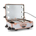SlayCase® XLS Vanity Travel Train Case with Stand in White & Rose Gold Studded