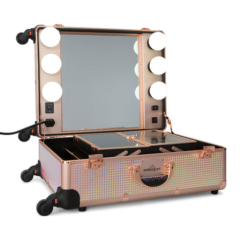SlayCase® Pro Vanity Travel Train Case with Stand in Pink Mermaid Shimmer