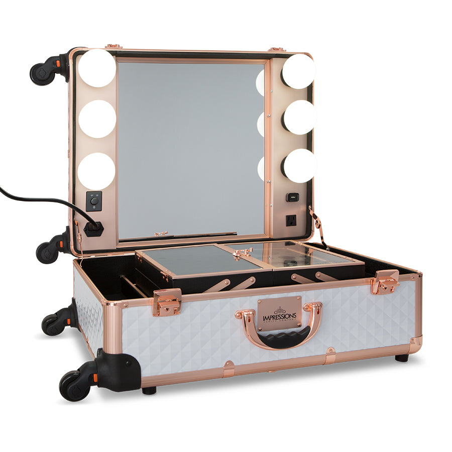 Slaycase Pro Vanity Travel Train Case In White Rose Gold Studded