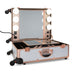 SlayCase® Pro Vanity Travel Train Case with Stand in White & Rose Gold Studded