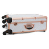 SlayCase® Pro Vanity Travel Train Case in White & Rose Gold Studded