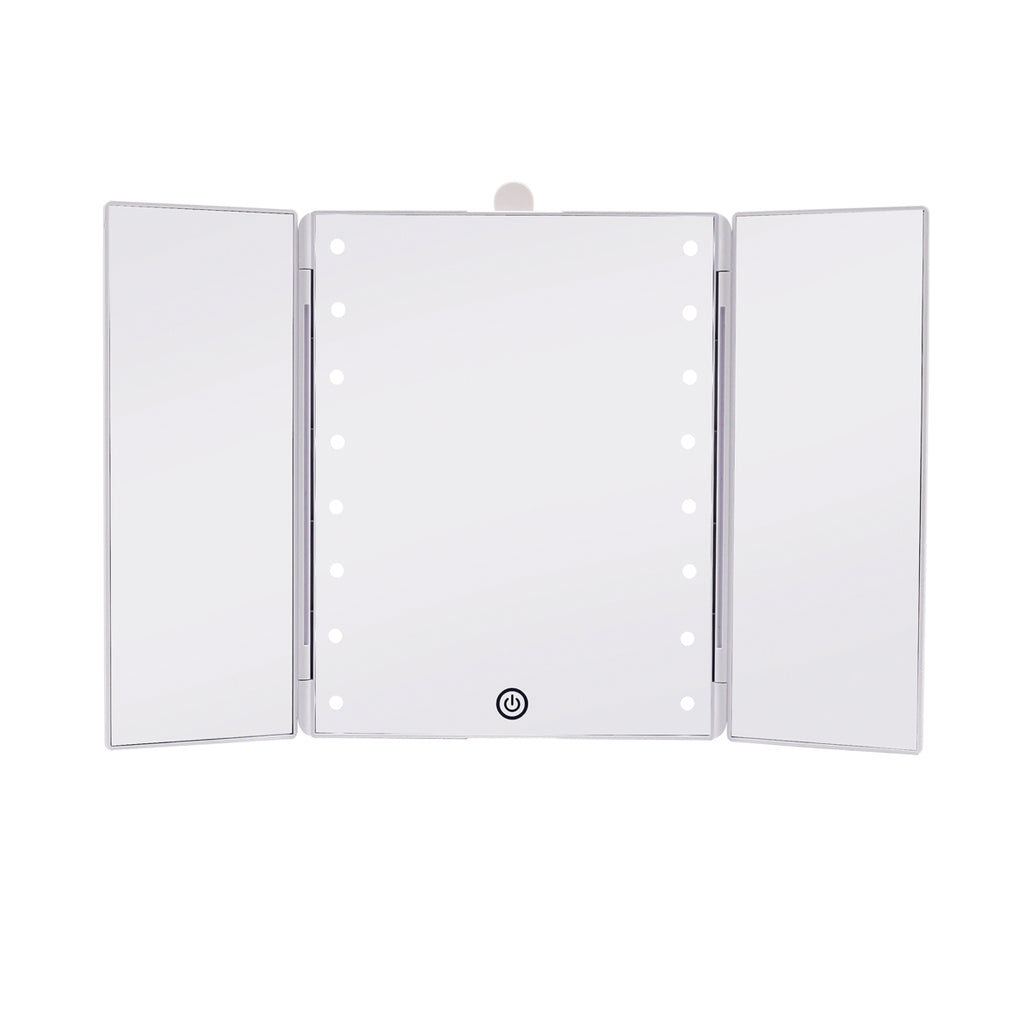 Touch Trifold Led Makeup Mirror With Vanity Organizer