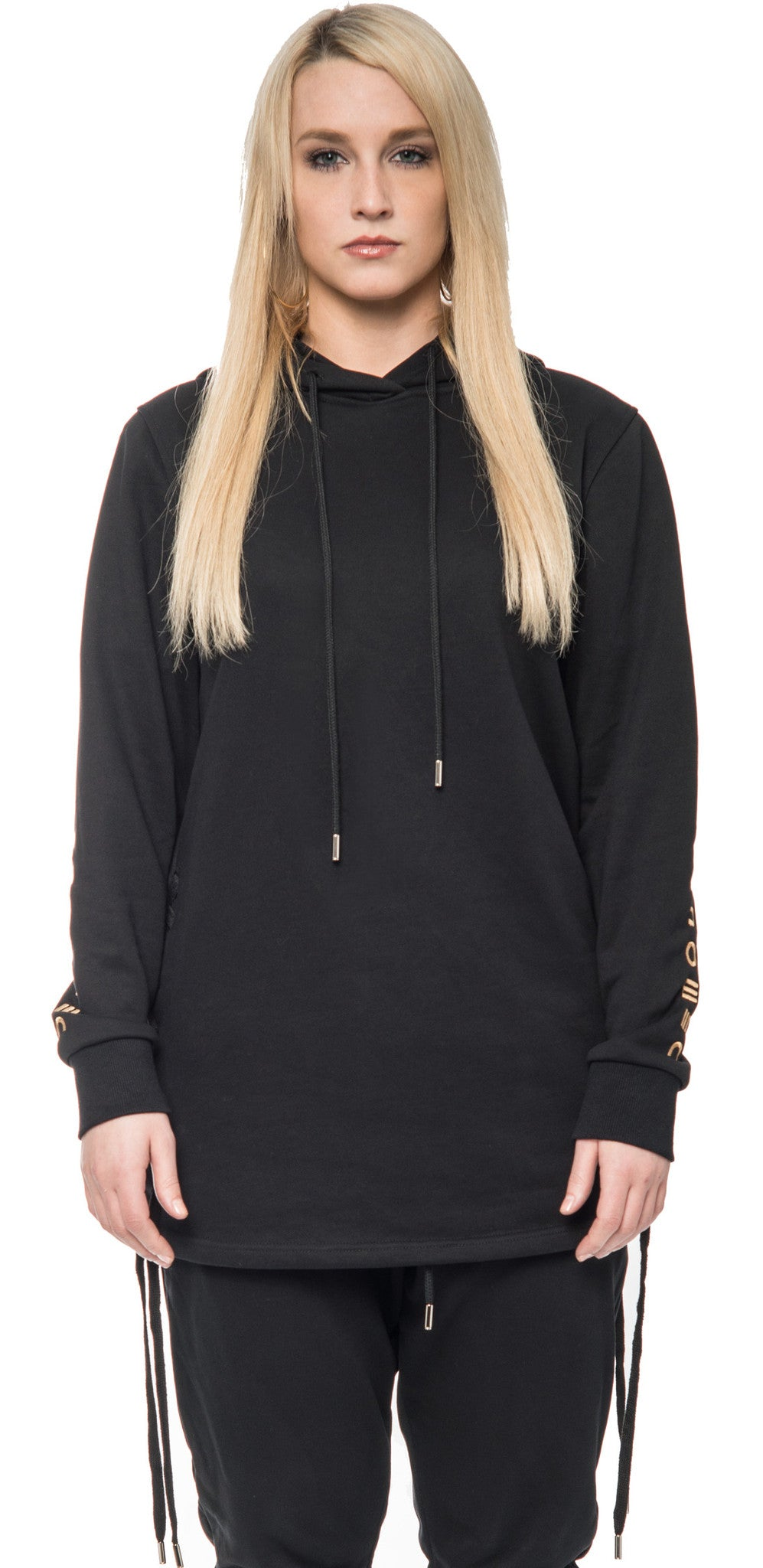 Black Side Strings Hoodie