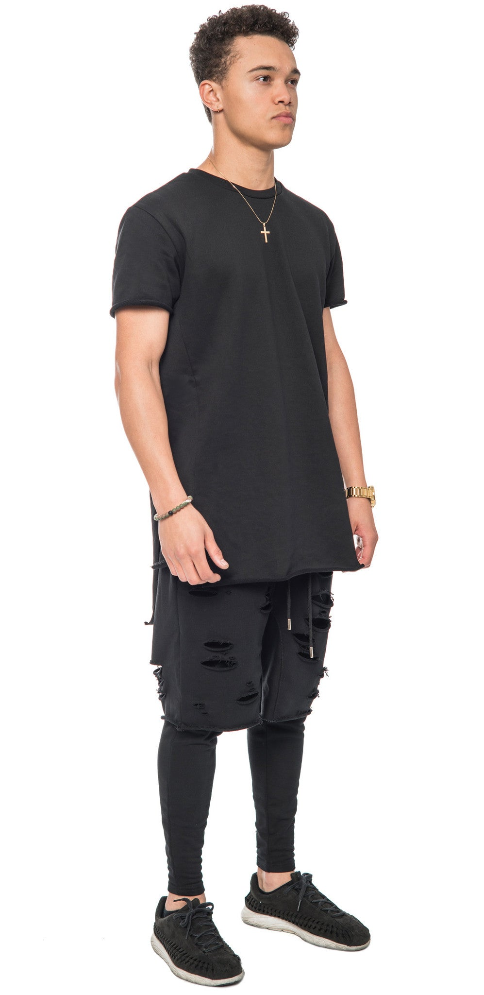 Black Distressed Layered Shorts