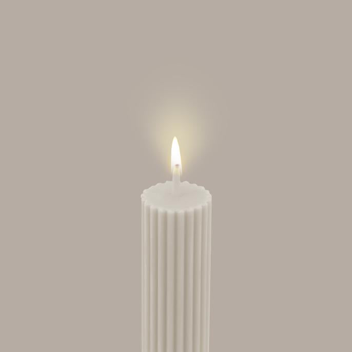 BLACK BLAZE - COLUMN PILLAR CANDLE // CREAM WHITE