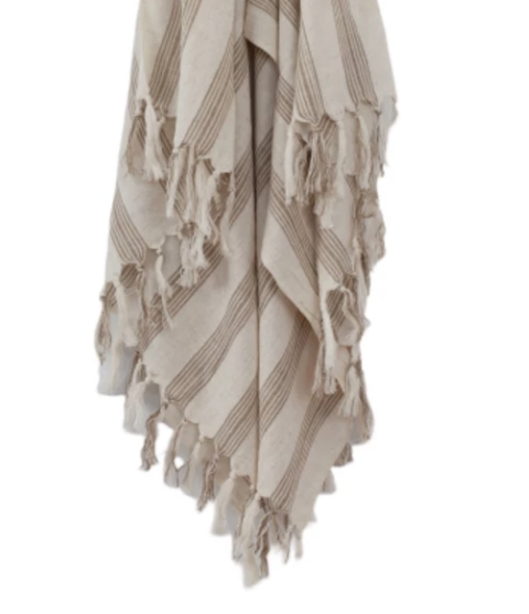 ONEFINESUNDAY CO - LINEN BLEND TURKISH TOWEL MYKONOS