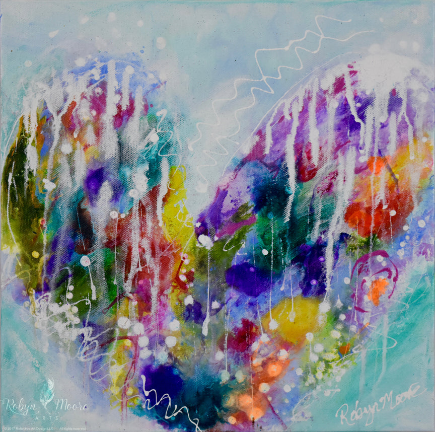 abstract rainbow watercolor ink splashy heart with drips