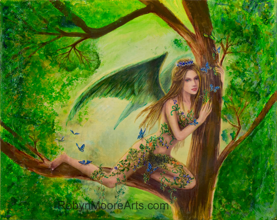 fern fairy with wings perched on a tree branch with blue butterflies flittering all about