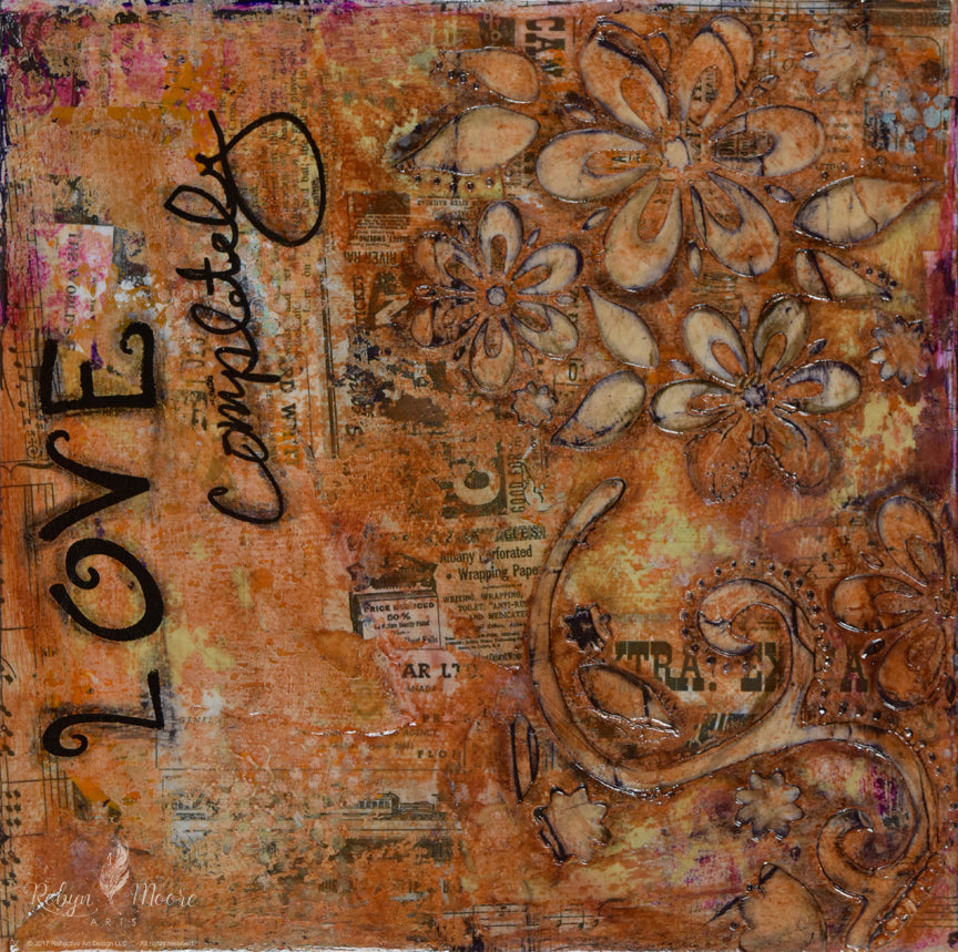 aged grunge looking abstract textured painting with layers wildflowers and words