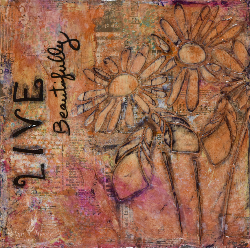 aged grunge looking abstract textured painting with layers daisies and words