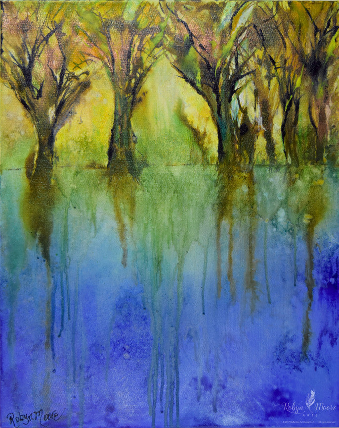 acrylic ink painting of field of trees on a beautiful lake shore