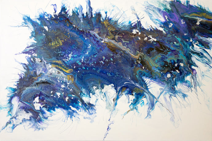 abstract fluid acrylic painting with texture and vibrant blue colors